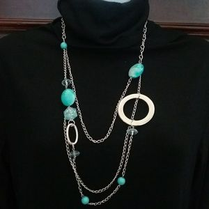 NWT Torquoise and silver necklace & earrings set